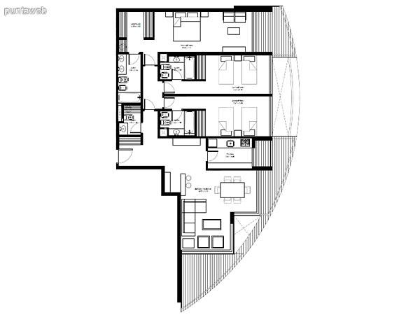 Apartamentos de tipología 03 &ndash; 203 &ndash; 2203<br>3 dormitorios en suite<br>Metros propios &ndash; 135.03 m²<br>Terrazas &ndash; 26.40 m²<br>Circulaciones &ndash; 10.40 m²<br>Metros totales 171.83 m²