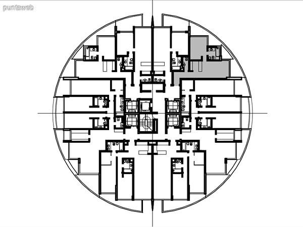 Ubicación en planta de los apartamentos de la tipología 04
