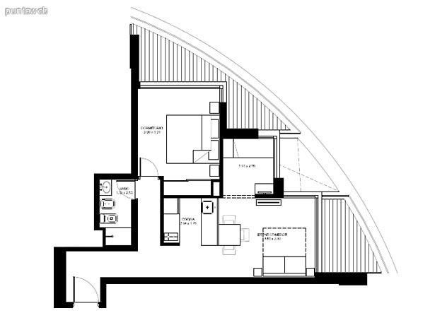 Apartamentos de tipología 04 &ndash; 204 &ndash; 2204<br>1 dormitorio<br>Metros propios &ndash; 52.00 m²<br>Terrazas &ndash; 16.90 m²<br>Circulaciones &ndash; 4.51 m²<br>Metros totales 73.41 m²