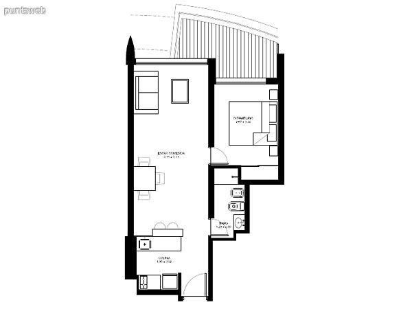 Apartamentos de tipología 05 &ndash; 205 &ndash; 2205<br>1 dormitorio<br>Metros propios &ndash; 49.62 m²<br>Terrazas &ndash; 9.97 m²<br>Circulaciones &ndash; 3.90 m²<br>Metros totales 63.49 m²