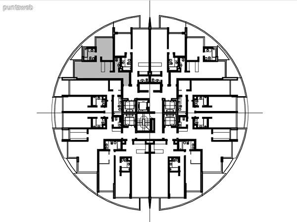 Ubicación en planta de los apartamentos de la tipología 07