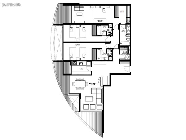 Apartamentos de tipología 07 &ndash; 207 &ndash; 2207<br>1 dormitorio<br>Metros propios &ndash; 52.00 m²<br>Terrazas &ndash; 16.90 m²<br>Circulaciones &ndash; 4.51 m²<br>Metros totales 73.41 m²
