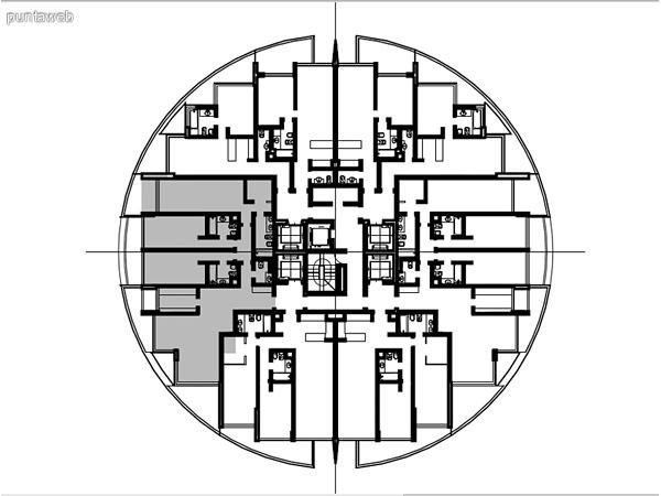 Ubicación en planta de los apartamentos de la tipología 08.