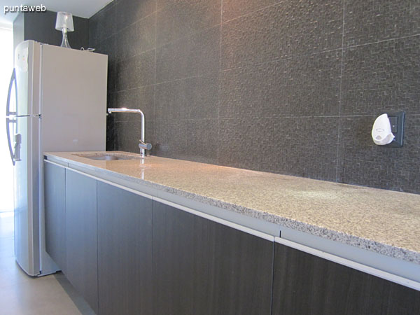 Detail of kitchen counter granite gray with double sink.