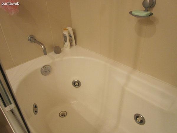 Baño de la suite. Equipado con ducha, hidromasaje y mampara de baño.