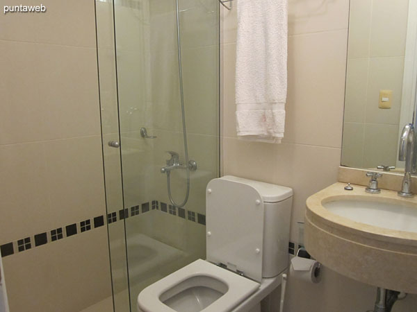 Bathroom on the second floor of the duplex. Internal, shower and bath screen.