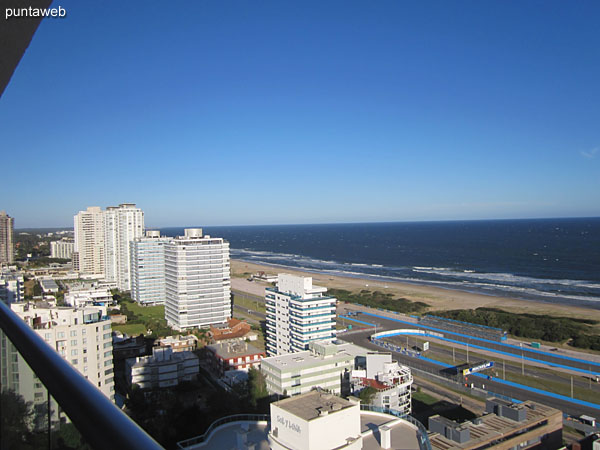View along the Atlantic coast, beach Brava, from the balcony of the apartment terrace.