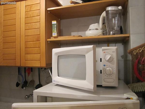 Detalle de refrigerador y horno microondas.