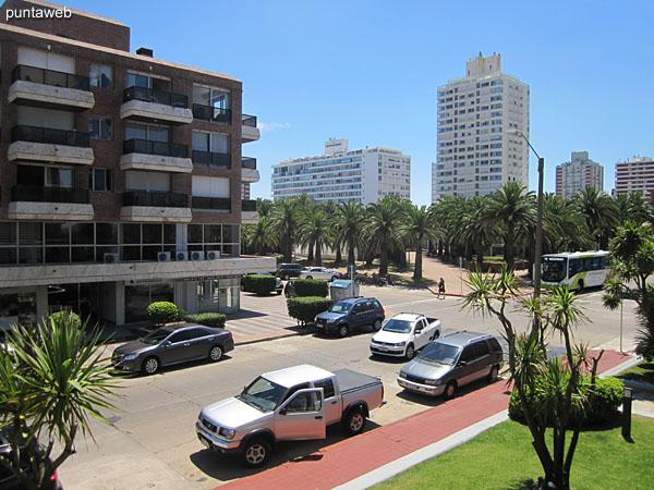 Vista hacia la plaza Artigas desde el ambiente del comedor del apartamento a lo largo de la calle 24.