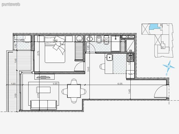UNIDAD: 105  805  904 TIPOLOGIA 1 Dormitorio<br>Área Propia 49.40 mts.<br>Área Terraza Servicio 1.60 mts.<br>Área Balcón 5.70 mts.