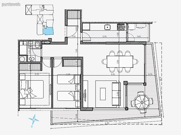 UNIDAD: 1003 TIPOLOGIA 1 Dormitorio<br>Área Propia 49.40 mts.<br>Área Terraza Servicio 1.60 mts.<br>Área Balcón 5.70 mts.