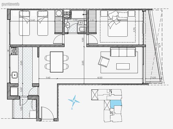UNIDAD: 102 &ndash; 802 TIPOLOGIA 2 Dormitorios<br>Área Propia 68.90 mts.<br>Área Terraza Servicio 1.90 mts.<br>Área Balcón 9.10 mts.