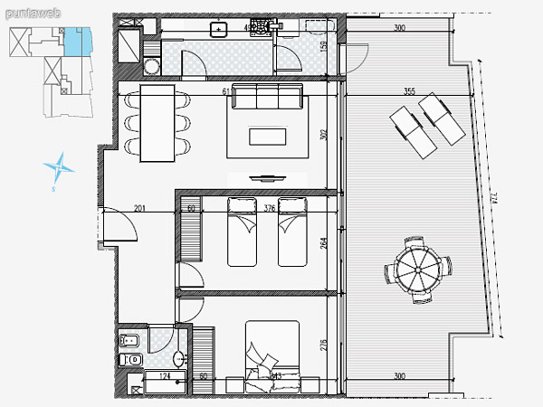 UNIDAD: 1001 TIPOLOGIA 2 Dormitorios<br>Área Propia 68.20 mts.<br>Área Terraza Servicio –<br>Área Balcón 75.40 mts.