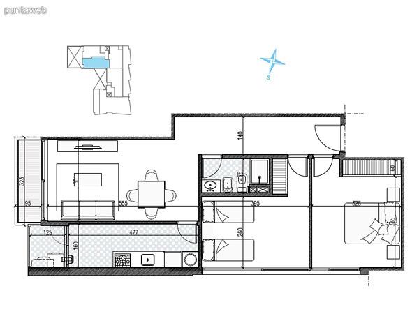 UNIDAD: 1004 TIPOLOGIA 2 Dormitorios<br>Área Propia 67.20 mts.<br>Área Terraza Servicio 3.00 mts.<br>Área Balcón 37.90 mts.