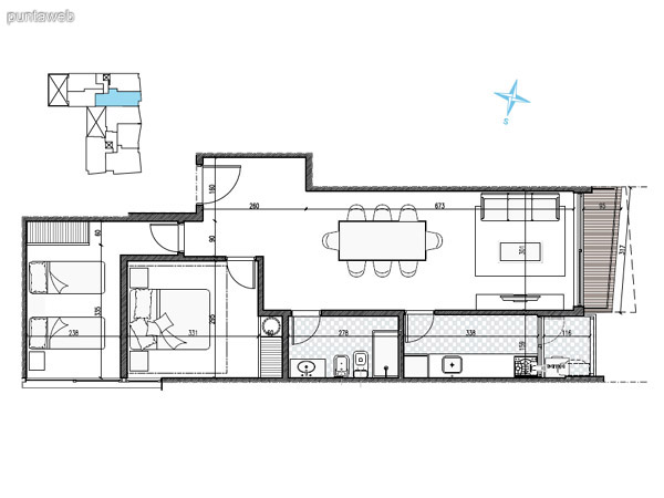 UNIDAD: 1005 TIPOLOGIA 2 Dormitorios<br>Área Propia 69.00 mts.<br>Área Terraza Servicio 2.10 mts.<br>Área Balcón 3.00 mts.