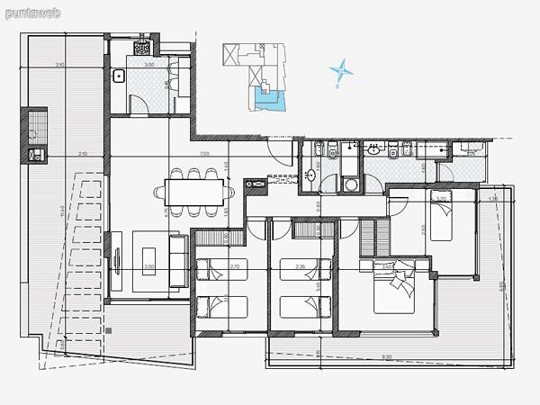 UNIDAD: 1002 TIPOLOGIA 3 Dormitorios<br>Área Propia 80.80 mts.<br>Área Terraza Servicio 2.70 mts.<br>Área Balcón 4.40 mts.