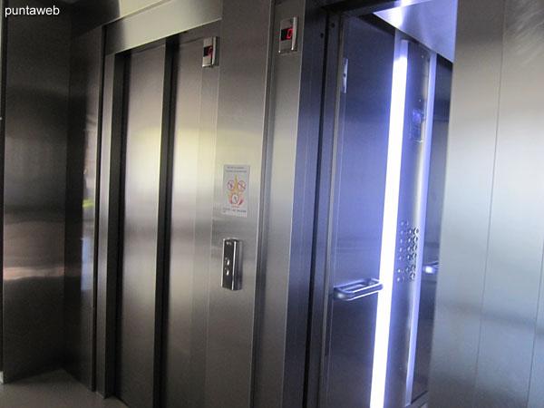 Dos ascensores Otis de última generación más ascensor de servicio.