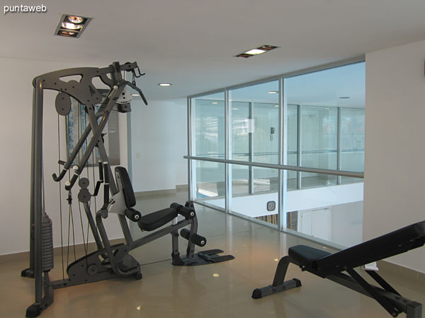 Fitness center. Located in mezzanine overlooking towards the front of the building.