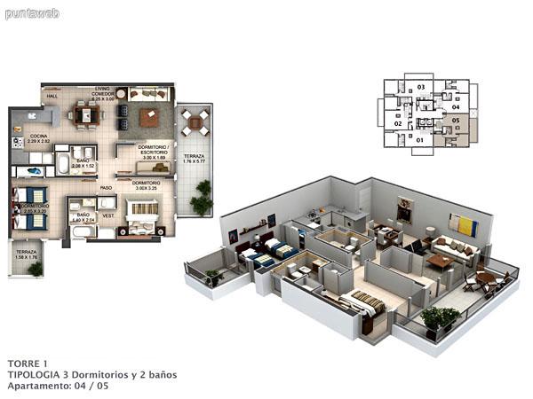 Planos de torre I Apto.02.<br>Tipologia 2 dormitorios y un ba�o.