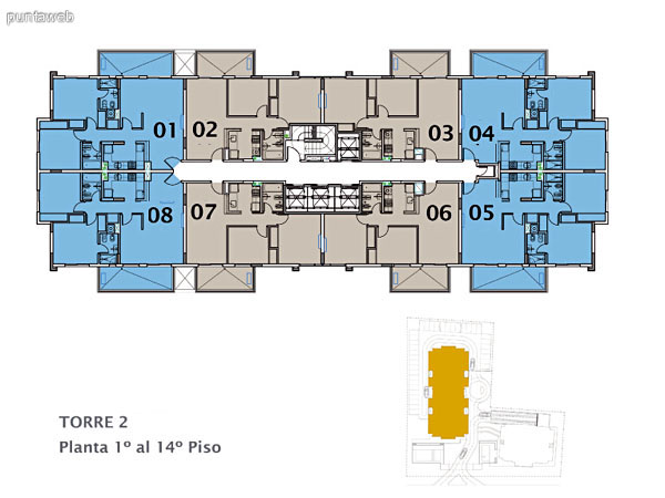 Planos de torre I Apto.04 y 05.<br>Tipologia 3 dormitorios 2 ba�os.<br>