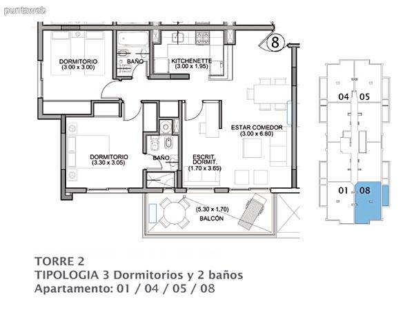 Planos de torre II, planta del piso 1 al 14.<br>Plantas de 3 dormitorios y 2 ba�os (principal en suite) y 2 dormitorios y un ba�o.