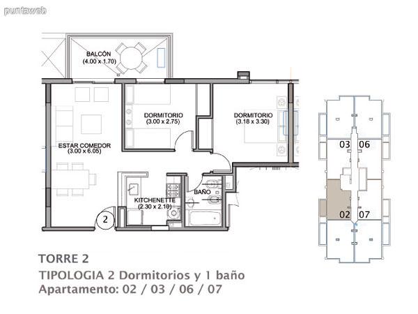 Planos de torre II Apto. 01&ndash;04&ndash;05&ndash;08.<br>Tipologia 3 dormitorios 2 ba�os.