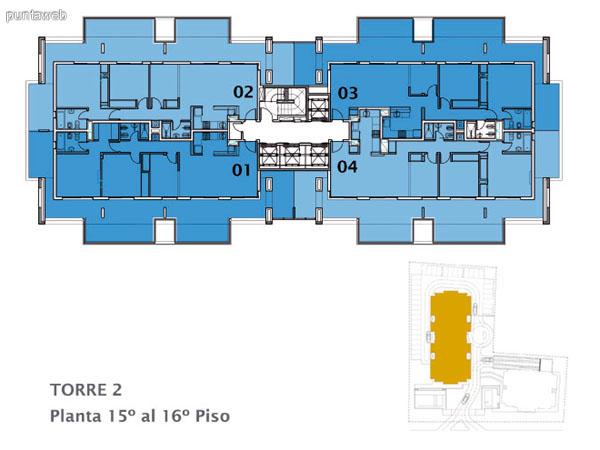 Planos de torre II Apto. 02&ndash;03&ndash;06&ndash;07.<br>Tipologia 2 dormitorios y un ba�o.
