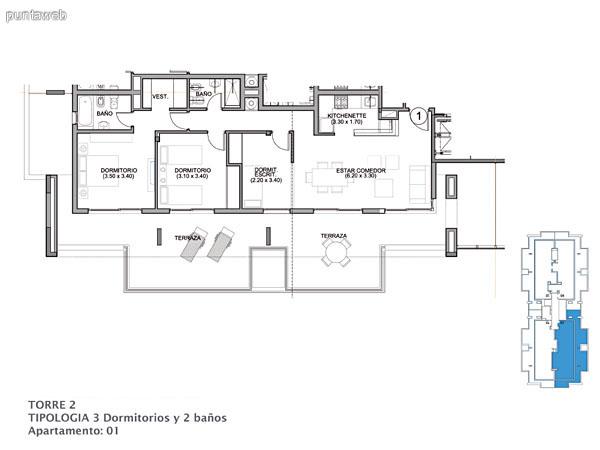 Planos de torre II piso 15 al 16.<br>Apto. 01&ndash;02&ndash;03&ndash;04.<br>Tipologia 3 dormitorios 2 ba�os.<br>