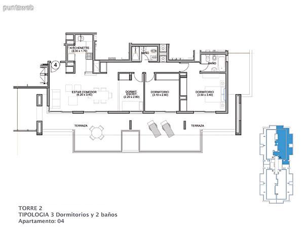 Planos de torre II piso 15 al 16.<br>Tipologia 3 dormitorios 2 ba�os.