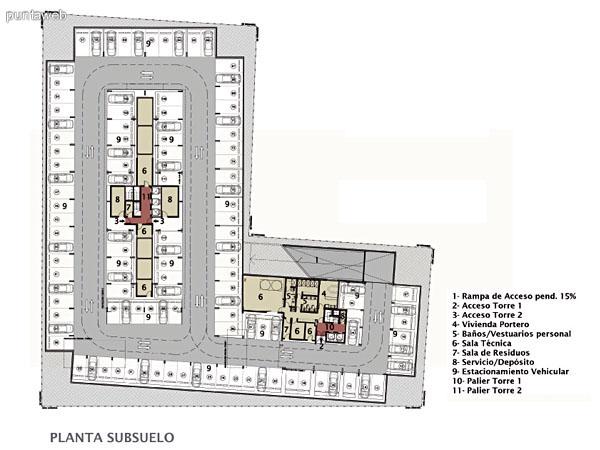 Plano de ambas torres en Planta Baja.