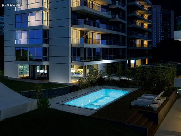 Render de una de las dos piscinas del complejo.<br>Vista de las fachadas de las torres.
