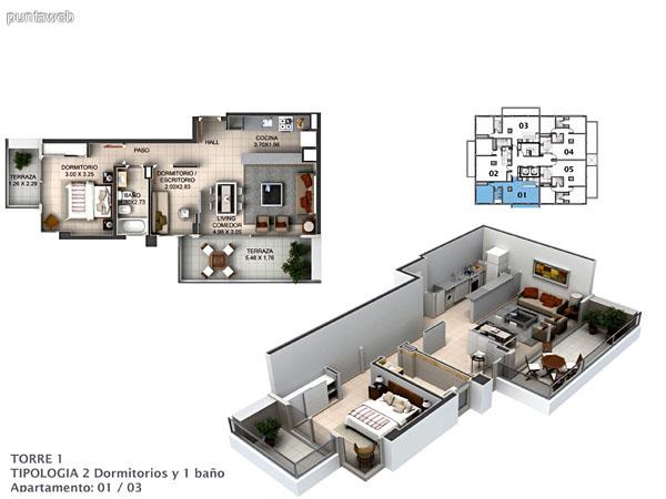 Planos de torre I, planta del piso 1 al 8.<br>Plantas de 1 y 2 dormitorios con dormitorio principal en suite.