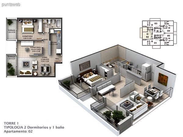 Planos de torre I Apto. 01 y 03.<br>Tipologia 2 dormitorios y un ba�o.