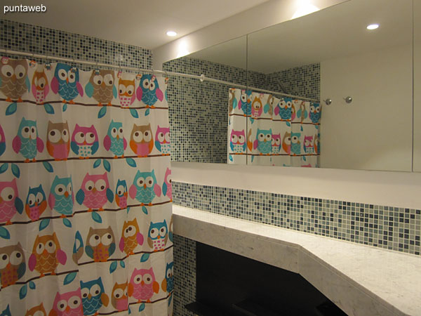 Bath suite. Inside. Shower and shower curtain.