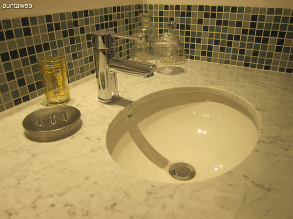 Detail of fittings and fixtures in the bathroom of the suite.