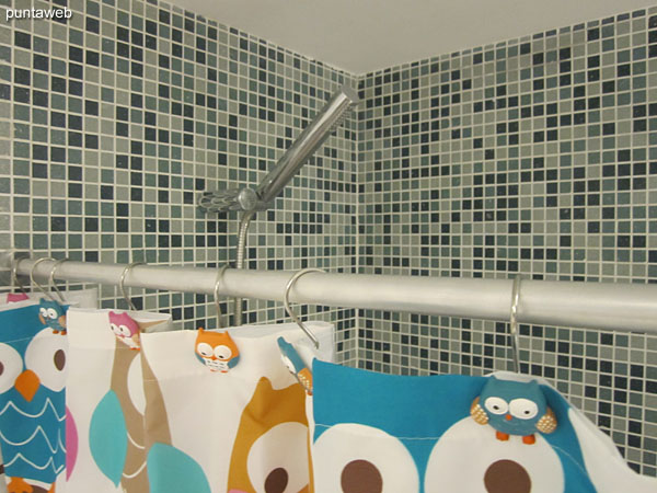 Detail shower curtain and bathroom in the suite.