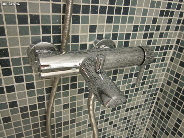 Detail handle faucet shower in the bathroom of the suite.
