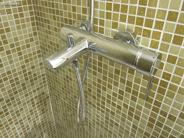 Detail handle faucet shower in the second bathroom.