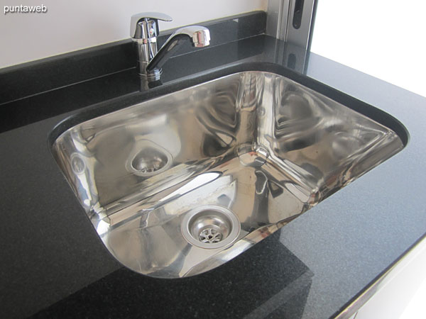 Stainless steel sink in the laundry.
