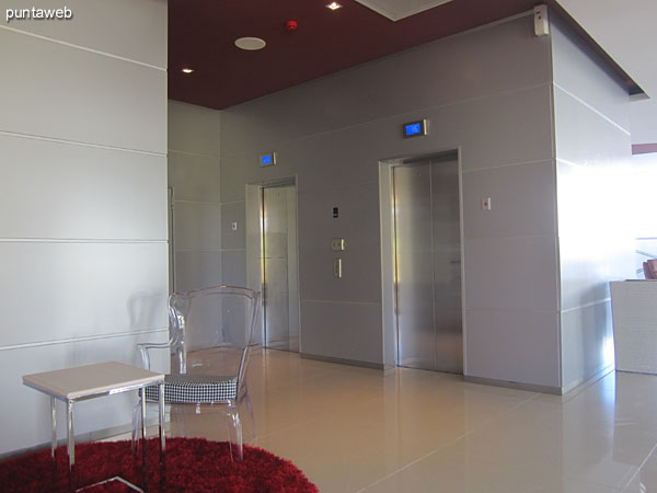 Sector elevators in the lobby of the building.
