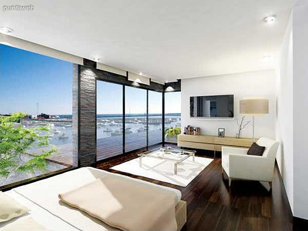 Suite principal con estar, acceso a terraza y excelentes vistas exteriores.