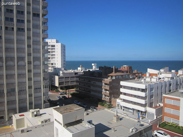 View towards the interior of the block and beach Mansa from the window of the suite.