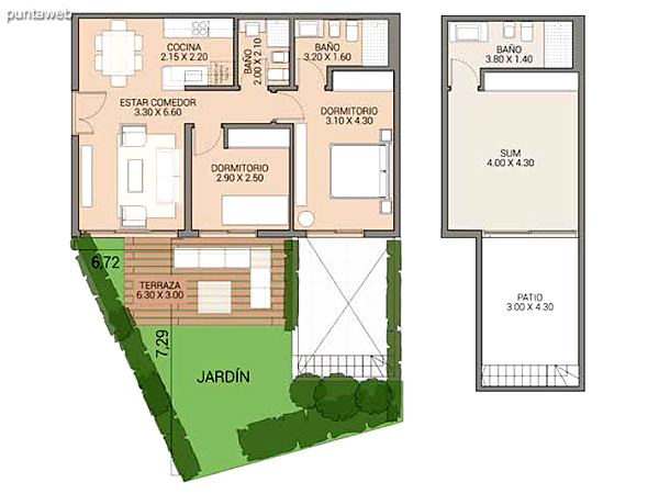 Level 0.00 &ndash; Units 1 and 6.<br>3 bedrooms, gallery, own garden, 2 garages covered.<br>Covered area: 115 m�<br>Balcony terrace: 19 m�<br>Garden: 100 m�