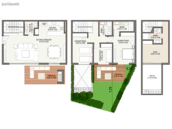 Level 0.00 &ndash; Units 3 and 4.<br>2 bedrooms, sum, gallery, own garden, carport covered.<br>Covered area: 95 m�<br>Balcony terrace: 19 m�<br>Garden: 56 m�