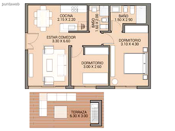 Level 2.80 &ndash; Units 7 and 12.<br>3 bedrooms, balcony terrace, 2 covered garages.<br>Covered area: 115 m�<br>Balcony terrace: 19 m�