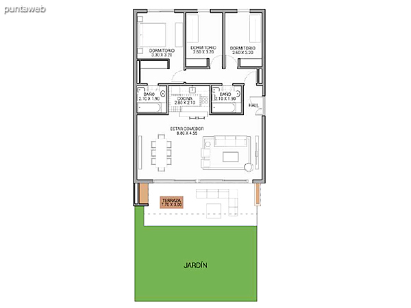 Level 2.80 &ndash; Units 9 and 10.<br>2 bedrooms, balcony terrace, covered carport.<br>Covered area: 70 m�<br>Balcony terrace: 19 m�