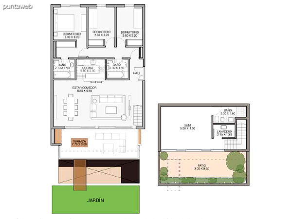 Level 5.60 &ndash; Units 13 and 20.<br>3 bedrooms, balcony terrace, own garden, 2 garages covered.<br>Covered area: 112 m�<br>Balcony terrace: 23 m�<br>Garden: 96 m�