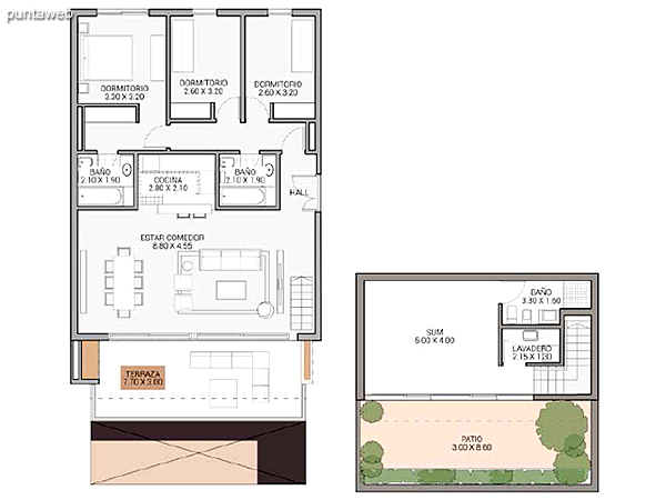 Level 5.60 &ndash; Units 14, 16, 17 and 19.<br>3 bedrooms, balcony terrace, sum, own garden, 2 garages covered.<br>Covered area: 157 m�<br>Balcony terrace: 23 m�<br>Garden: 105 m�