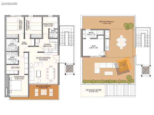 Level 5.60 &ndash; Units 15 and 18.<br>3 bedrooms, balcony terrace, sum, 2 covered garages.<br>Covered area: 157 m�<br>Balcony terrace: 23 m�<br>Garden: 26 m�