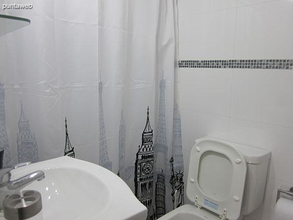 Bathroom interior. It has shower and curtain of bath.
